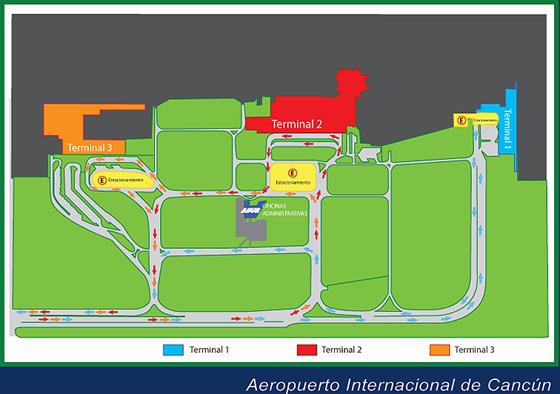 Схема аэропорта Канкуна в Мексике